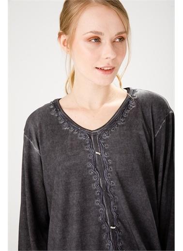Desen Triko Bluz Siyah